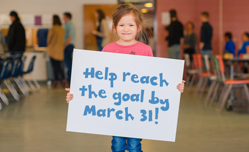 Help reach the goal by March 31!